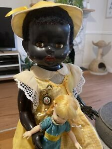 ⭐️Hard Plastic Black PEDIGREE Doll 1950's One For The collection! 51cm (21in)⭐️