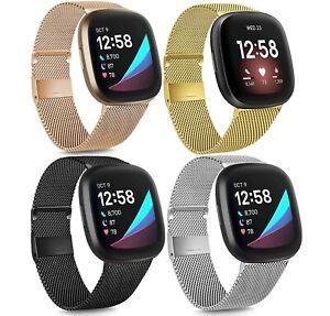 For Fitbit Versa 3 /Fitbit Sense Stainless Steel Metal Bracelet Watch Band Strap