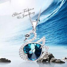 925 Sterling Silver Made With Swarovski Element Shiny Elegant Swan Teal Necklace