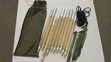 East German NVA Shelter Half Pup Tent Poles Stakes Rope w/ Rain Drop Camo Bag