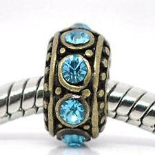 Gold tone With Aqua Marine Rhinestone charm for European Snake chain charm brace