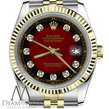 Rolex 36mm Datejust 2 Tone Red Vignette Color Dial with Diamond Accent RT