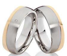 Trauringe Eheringe Partnerringe aus Edelstahl mit Diamant und Lasergravur P335