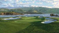 """The 17th Hole Pebble Beach Golf Links"" Linda Hartough A/P 60"" Giclee Canvas"