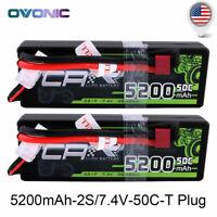2X Ovonic 50C 7.4V 5200mAh 2S Lipo Battery w/ Deans Plug for Traxxas Losi RC Car