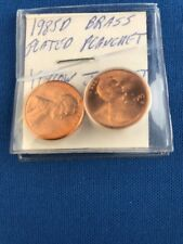 (2) Two 1985 D brass plated planchet cents