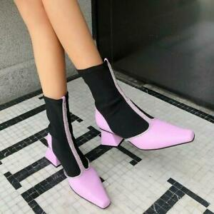 Womens Fashion Two Tone Diamante Sretched Pull On Booties Ankle Boots Shoes MOON
