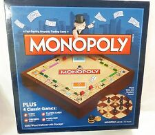 Monopoly solid wood plus 4 classic board game with chess checkers cards dice