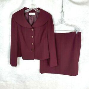 Tahari Womens Solid Purple Polyester Blend Skirt Suit w/ Designer Buttons sz 16_