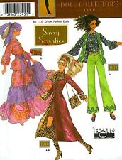 """RARE! 11½"""" BARBIE DOLL COLLECTORS """"SAVVY 1970s"""" SEWING PATTERN Simplicity 9975"""