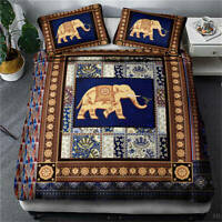 Great Sacred Elephant Totem 3D Quilt Duvet Doona Cover Set Pillow case Print