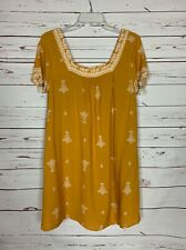 Crescent Stitch Fix Women's M Medium Mustard Yellow Boho Short Sleeve Fall Dress