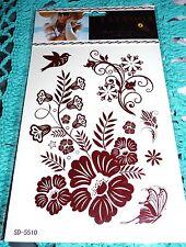 TEMPORARY HENNA LEG HAND FOOT BOHEMIAN FLOWER BIRD BUTTERFLY BROWN TATTOO