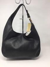 NWOT MICHAEL KORS LEATHER FULTON LARGE SLOUCHY Handbag HOBO BAG BLACK New Gold