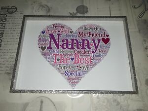 Word Art Nan Nana Nanny Grandma Heart Picture Print Frame Gift