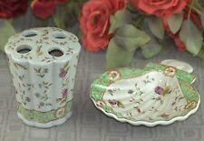 Badezimmer Set Porzellan Seifenschale  Antik Nostalgie Seifenablage Muschel Neu