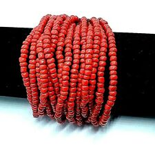 Ethical Wood & Coral Bead Multi Strand Stretch Cuff Bracelet Handmade Coral Red