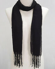 GORGEOUS NEW 100% Organic Cotton Scarf Black SEXY Flowing Light Fabric