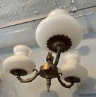 Antique Rococo Brass Three Arm Chandelier Light Fitting