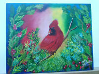 Original Acrylic  Painting Cardinal Christmas 8x10 Canvas Panel Art Decor