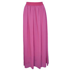 b1f40ab5c Ladies Womens Sheer Chiffon Elasticated Waist Maxi Gypsy Plain Long Maxi  Skirt