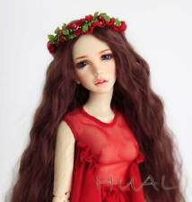 7-8 1/4 BJD Red Brown Curly Long Wig LUTS Doll SD DZ DOD MSD Pullip Hair +Cap #L