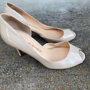 Marc Fisher Women Nude Stiletto Heel Peep Toe Cut out Faux Leather Shoe Size 7