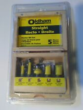NEW Oldham Straight Recto 5 Piece Router Bit Set, includes Nice Wooden Case