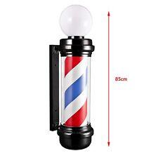 More details for  barber pole rotating led sign red white blue stripes light heavy duty salon led