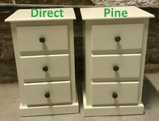 X2 (PAIR) SHAFTESBURY 3 DRAWER BEDSIDE CABINETS CREAM/RUSTIC STUD KNOBS