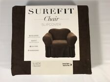 Sure Fit Suede Slipcover Chair - Chocolate Relaxed Fit Washable AH4