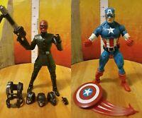 "Marvel Legends 6"" 10th Anniversary Red Skull & Captain America action figure lot"