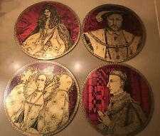New listing Rare 4 Round Cork Mats. Pimpernel? English Royalty. Henry Charles Elizabeth. Vtg