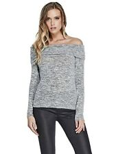 GUESS Womens Grey Slim Fit Long Sleeve Off Shoulder Stretch Knit Sweater S NEW