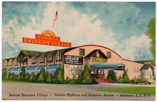 Linen Postcard Sunrise Bavarian Village in Bellmore Long Island, New York~107545