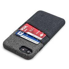 Luxe iPhone 7 8 Card Case - Dockem, Slim Wallet 2 pocket, PU Leather Grey/black
