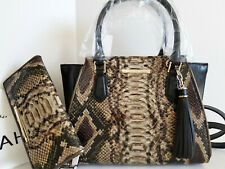 🌹Brahmin Mini Priscilla Satchel Python Green Brown Black Leather Bag+Wallet NWT