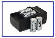 4 Piles Accus Rechargeables CR123A 16340 3.7V 2300Mah GTL Li-ion + CHARGEUR