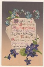 WINSCH ARTS & CRAFTS BIRTHDAY POSTCARD VIOLETS & FORGET ME NOT BY S.K. COWAN