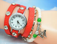 Kings & Lions New Wrap Around Bracelet Women Dress Watch Red Color