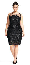 Adrianna Papell Sequin Embroidered Cocktail Illusion Neck Dress  Plus  20W