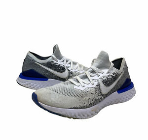 Nike Epic React Flyknit 2 white black racer blue BQ8928 102 men's size 11.5