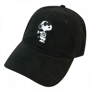 Peanuts Snoopy Joe Cool Black Baseball Hat, Adjustable with White Embroidery
