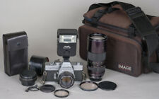 Minolta SRT 102 35mm Film SLR Student Camera  w/3 Lenses, Flash, Bag TESTED