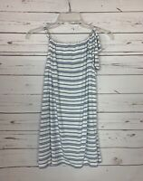 Cabi Women's M Medium White Blue Stripe Sleeveless Bow Spring Summer Top Tank