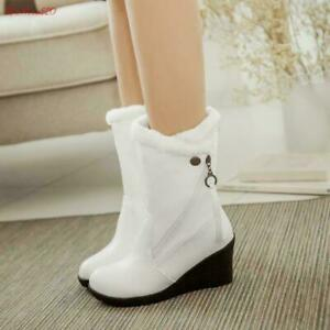 New Womens round toe Warm Fur Lined Wedge Heel zip snow Mid-calf Boots Shoes