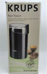 KRUPS FAST TOUCH COFFEE & SPICE GRINDER 203 STAINLESS BLADE NEW IN BOX ~ BLACK