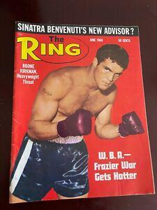 THE RING MAGAZINE JUNE 1968 Boone Kirkman, Joe Frazier, Nino Benvenuti