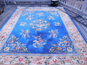 """8' X 10"""" Chinese Aubusson Oriental Rug Full Pile  Hand Made - 100% Wool -"""