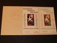 España Carta primer Dia FDC 1958 Expo Filatelica Nacional con 2 bloques  RR